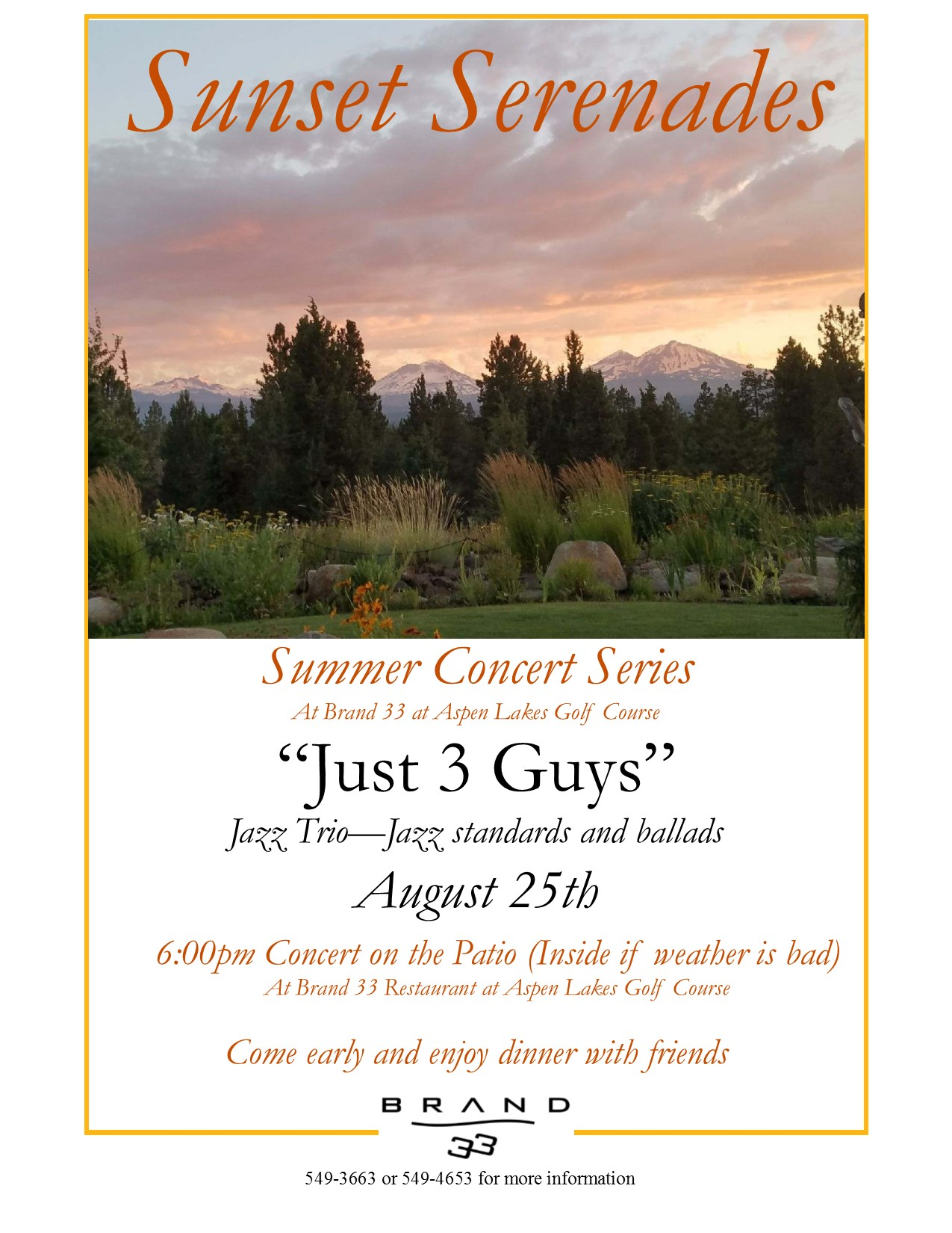 Sunset Serenades Just 3 Guys 8 25 19